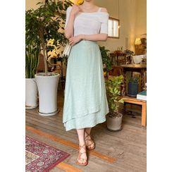 chuu - Diagonal Maxi Wrap Skirt