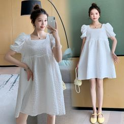 Clover Dream - Maternity Puff-Sleeve Midi A-Line Dress