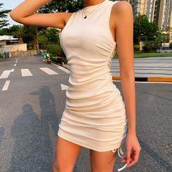 Femme Cradle - Side Drawcords Sleeveless Mini Bodycon Dress