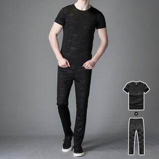 Carser - 运动套装: 短袖上衣 + 运动裤