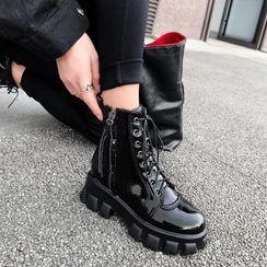 錦洋鞋業 - 漆皮繫帶厚底短靴