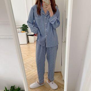 Sadelle - Pajama Set: Dotted Shirt + Lounge Pants
