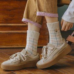 Shippo - 三双套装: 刺绣袜子