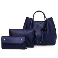Selinda - Set: Faux Leather Rivet Hand Bag + Crossbody Bag + Clutch