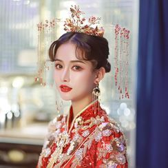 la Himi - 婚礼套装: 水钻流苏皇冠 + 流苏耳坠