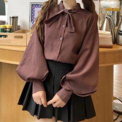 Rorah - 泡泡袖纯色衬衫