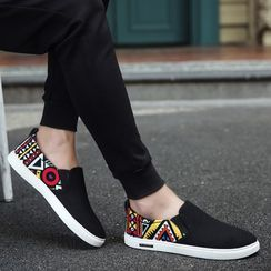 HANO(ハノ) - Printed Canvas Slip-Ons