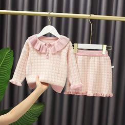 Mini Bae - Set: Kids Plaid Collared Sweater + A-Line Skirt