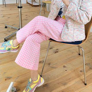DISCOSALON - Band-Waist Gingham Semi Boot-Cut Pants