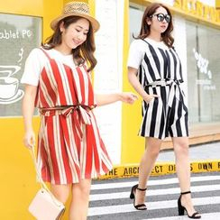 Tripoly - Set: Plain Short-Sleeve T-Shirt + Striped Playsuit