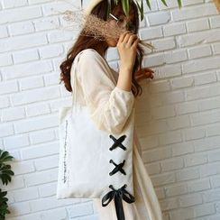 OUCHA - Ribbon Lace-Up Canvas Tote