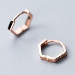 A'ROCH(エーロック) - 925 Sterling Silver Hexagon Hoop Earring