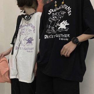 Koiyua - Elbow-Sleeve Graphic Print T-Shirt