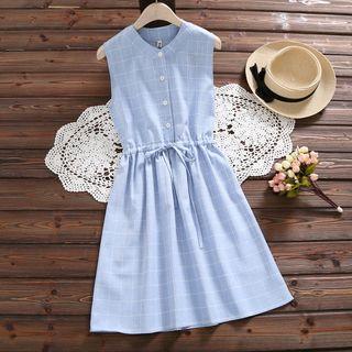 Fancy Show - Sleeveless Checker A-Line Dress