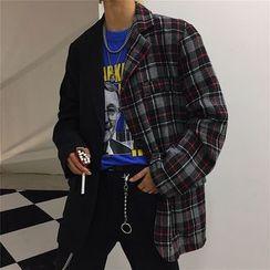 2DAWGS - 格子拼接單排扣西裝外套