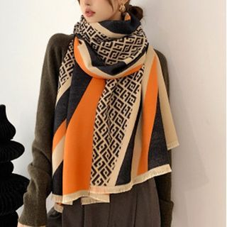 Digesida - Fray Trim Patterned Scarf