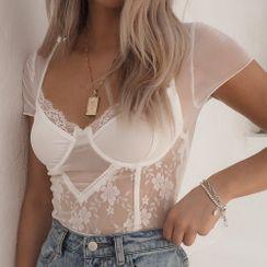 Modocus - Short-Sleeve Lace Lingerie Bodysuit
