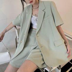 MAPOGO - Elbow-Sleeve Plain Blazer / Dress Shorts