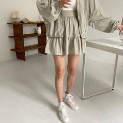 Seoul Fashion(ソウルファッション) - Tiered A-Line Mini Skirt