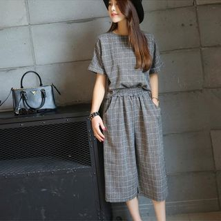 Fashion Street - Set: Short-Sleeve Plaid Top + Cropped Wide Leg Pants