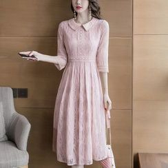 Cassidy - Elbow-Sleeve Midi A-Line Lace Dress