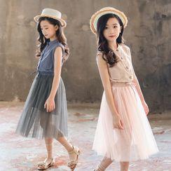 PAM - Set: Kids Sleeveless Pocket -Front Dress + Mesh Pleated Skirt