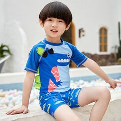 Aqua Wave - Kids Printed Short-Sleeve Rashguard  / Swim Shorts / Swim Goggles / Ear Plugs / Nose Clip / Drawstring Organizer Bag / Swim Cap / Set