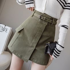 Nine Tails - Belted Mini A-Line Cargo Skirt