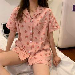 Closette - Pajama Set: Short-Sleeve Strawberry Print Top + Shorts