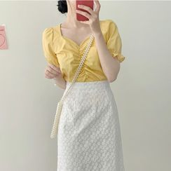 Yunhouse - Puff-Sleeve Shirred Blouse / Embroidered Midi A-Line Skirt