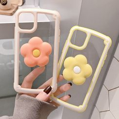 TinyGal - Flower Stand Transparent Phone Case - iPhone 11 Pro Max / 11 Pro / 11 / XS Max / XS / XR / X / 8 / 8 Plus / 7 / 7 Plus / 6s / 6s Plus