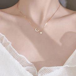 Hansha - 925 纯银水钻月亮及星星吊坠项链