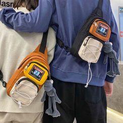 EAVALURE - Color Block Zip Sling Bag