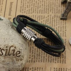 Creole - Stainless Steel Spring Layered Bracelet