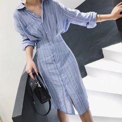 Scabiosa - Pinstriped Long-Sleeve Midi Sheath Shirtdress