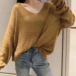 Maliske - V領純色針織上衣