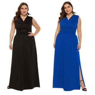 Chelsie Chic - Plus Size Sleeveless A-Line Maxi Dress