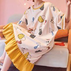 Lion Sniff - 短袖蘑菇印花家居服连衣裙