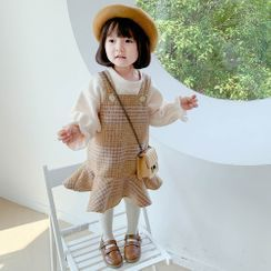 Cuckoo - Kids Bell-Sleeve Top / Plaid Mini A-Line Pinafore Dress