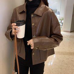 Shopherd - 飾扣仿皮外套