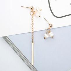 Mulyork - Asymmetric Faux Pearl Drop Earrings