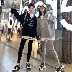 Ayibu - 套裝: 假兩件字母印花連帽衫 + 運動褲