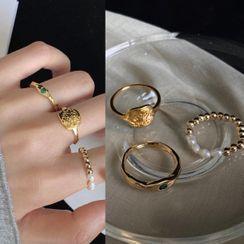 PO!NY STUDIO - Set of 3: Alloy / Faux Pearl / Rhinestone Ring (assorted designs)
