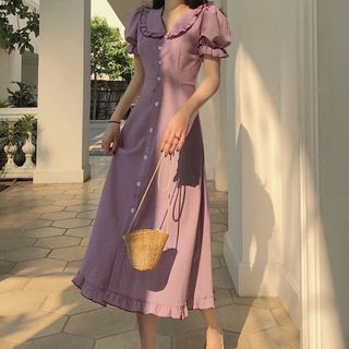 Apotheosis - Frilled Trim Short Sleeve A-Line Dress