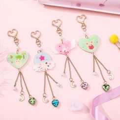 Eranso - Cartoon Heart & Moon Keyring