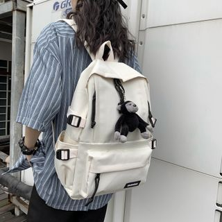 Mulgam - Lightweight Plain Backpack / Chimpanzee Bag Charm