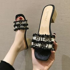 Laceuplux - Faux Pearl Chunky-Heel Slide Sandals