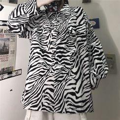 LINSI - Zebra Print Long-Sleeve Shirt