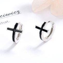 JZ Concept - s925纯银十字架圈环耳环