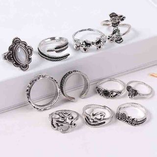 Bling Thing - Set of 11: Retro Alloy Open Ring (assorted designs)
